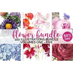 Watercolor Flowers Set 01 (qty 100)