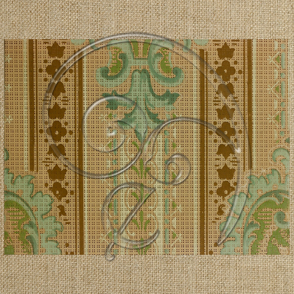 vintage green and tan damask (free download)