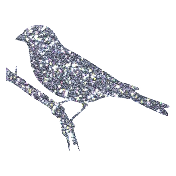 Silver blue glitter bird silhouette (free download)