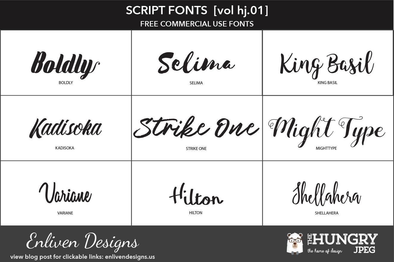 Free • Commercial Use • Script Fonts  [VOL HJ.01]