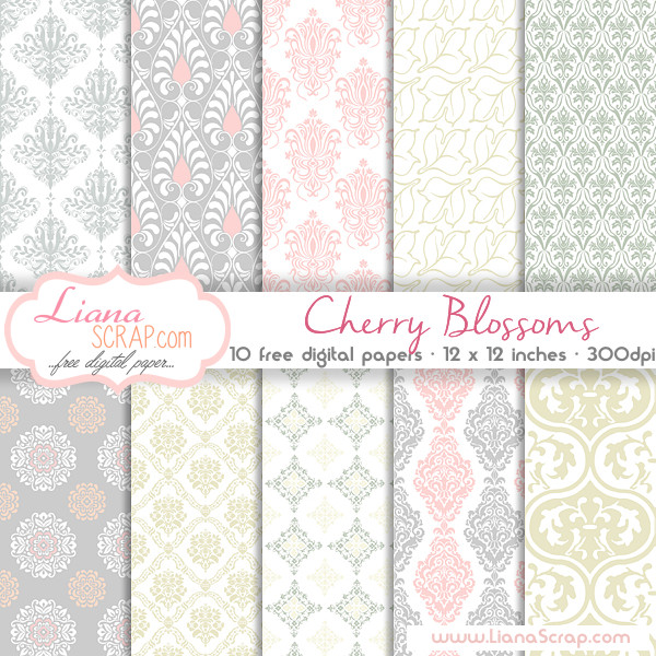 Cherry Blossoms Free Digital Scrapbook Paper