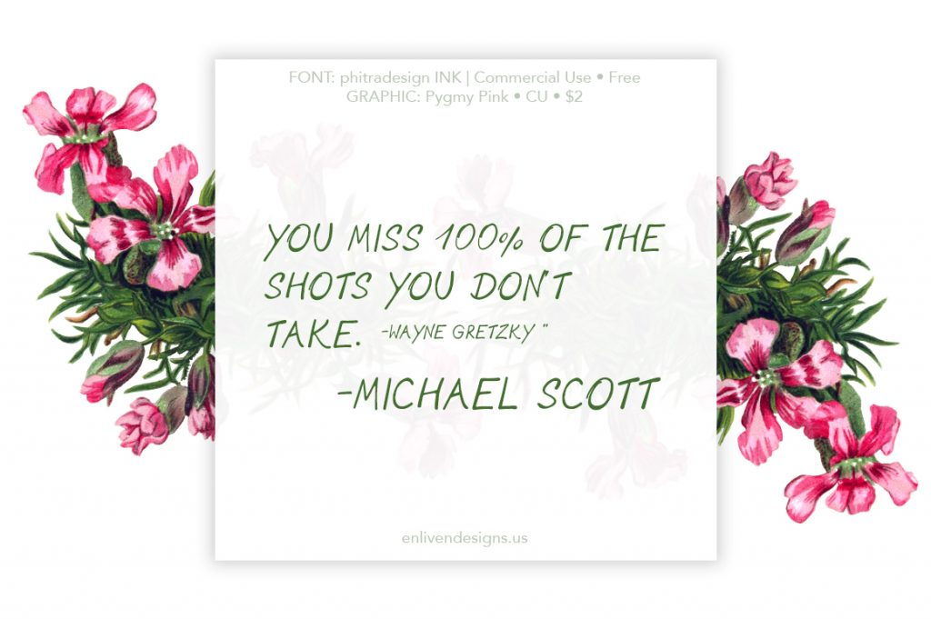 "You miss 100% of the shots you don't take. -Wayne Gretzky"" -Michael Scott"