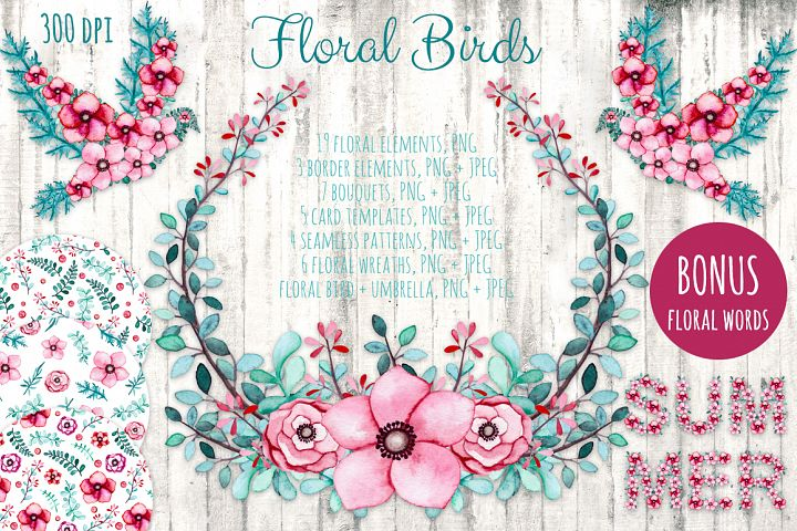 free watercolor floral bird clipart