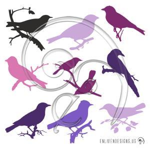 Purple Lavender Birds Silhouettes-01 (free download)